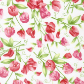 Sweet Pea - Sweet Pea Floral White Flannel Yardage