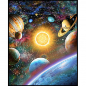 "Stargazers - Galaxy Multi Digitally Printed 108"" Wide Panel"