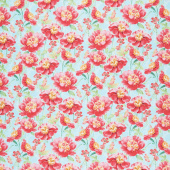 Pink Garden - Packed Floral Teal Yardage
