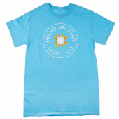 Missouri Star Circle Logo Round Neck Sky T-Shirt - Large