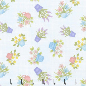 Butterfly Garden - Happy Flowers Light Sky Yardage