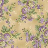 Aubergine - Elegant Floral Antique Yardage