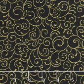 Cardinal Song Metallic - Scroll Ebony Yardage