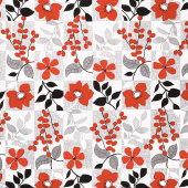 Red Alert - Floral with Background Squares Gray Yardage