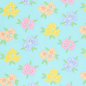 Good Day! - Bunches of Blooms Turquoise Yardage