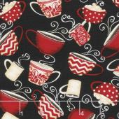 Morning Coffee - Tossed Coffee Cups Black Yardage