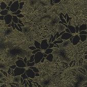 Gilded Greenery - Poinsettia Toile Ebony Metallic Yardage