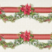 A Poinsettia Winter - Swag Border Red Green Yardage