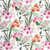 Orchids in Bloom - Orchids and Ferns Feature White Multi Digitally Printed Yardage