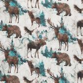 Whispering Pines - Wildlife Beige Multi Digitally Printed Yardage