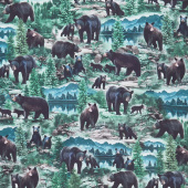 Animals - Wild Black Bears Multi Digitally Printed Yardage