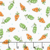 Lil' Sprout Too! - Peas n' Carrots White Flannel Yardage