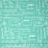 Kitchen Love - Delicious Words Turquoise Yardage