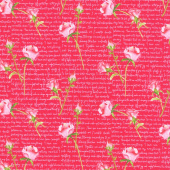 Love Letters - Words and Roses Red Yardage