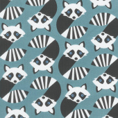 Animals - Geometric Raccoons Teal Yardage