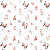 A Magical Christmas - Animals Allover White Yardage