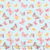 Pink Garden - Butterflies Allover Teal Yardage