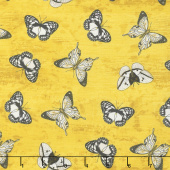 Sunset Blooms - Butterflies Allover Gold Yardage