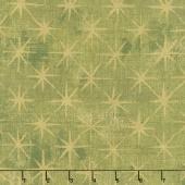 Grunge Seeing Stars - Vert Metallic Yardage
