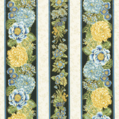 Avery Hill - Blue Flowers Blue Metallic Yardage
