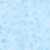 Winter Frost Batiks - Swirl Snowflake Sky Yardage