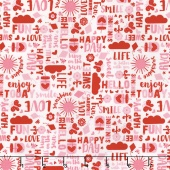 Happy Day - Happy Words Pink Yardage