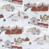 Country - Headin' Home Winter Barn Scenic Snow Yardage
