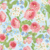 Farmhouse Rose - Flowers Blue Yardage