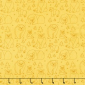 Beary Happy - Celebrating 50 Colorful Years with Brown Bear! Bear Doodle Yellow Yardage