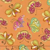 """Paloma - """"Pucci"""" Butterflies Orange Yardage"""