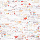 Kiss the Cook - Words Recipe White Digitally Printed Yardage