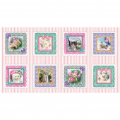 Kitty Glitter - Cats Blocks Pink Digitally Printed Panel