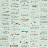 Gone Camping - Trout Paper Aqua Yardage