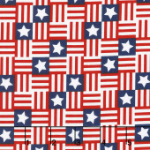 Red, White and Starry Blue - Flag Geo Multi Yardage
