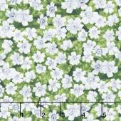Garden Gathering - Small Flowers Green/White Yardage