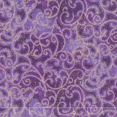 Grand Illusion - Scroll Purple Metallic Yardage