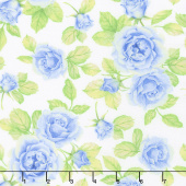 Cottage Joy - Roses Blue Yardage