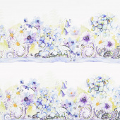 The Leah Collection - Border Stripe Periwinkle Yardage