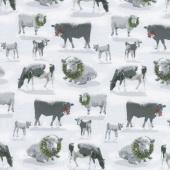 Holiday Homestead - Farm Animals Gray Yardage