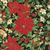 A Joyful Season - Poinsettias Black Metallic Yardage