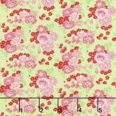 Amorette - Roses Green/Pink Yardage
