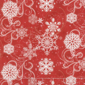 Snow Days - Swirling Snowflakes Red Yardage