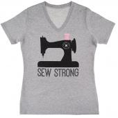Missouri Star Sew Strong V-Neck Grey T-Shirt - 4XL