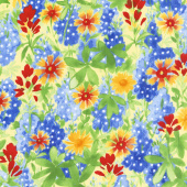 Bluebonnet Patch - Wildflower Patch Yellow Yardage