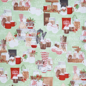 Hot Cocoa Bar - Large Allover Green Yardage