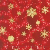 Winter's Grandeur 6 - Holiday Scattered Snowflakes Red Metallic Yardage