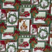 Christmas Cabin - Holiday Collage Multi Yardage