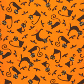 A Spooky Good Time - Cats and Bats Pumpkin Yardage