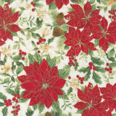 A Joyful Season - Poinsettias White Metallic Yardage