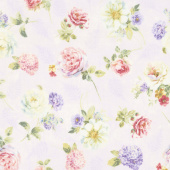 Butterfly Haven - Tossed Floral Purple Yardage